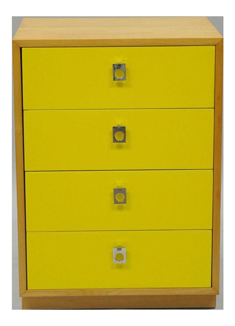 Founders Jack Cartwright Mid Century Modern Yellow Maple U0026 Chrome Nightstand  Chest
