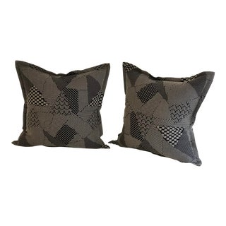 "Pair of 20"" Square Black and White Stitched Patchwork Pillows by Jim Thompson For Sale"