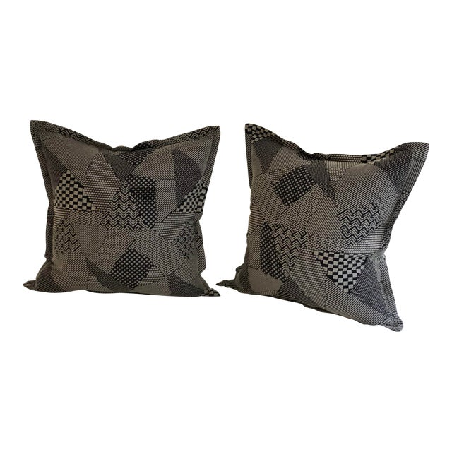 """Pair of 20"""" Square Black and White Stitched Patchwork Pillows by Jim Thompson For Sale"""