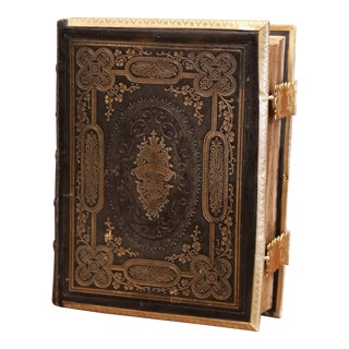 19th Century English Leather Bound Holy Bible With Gilt Tooling and Brass Locks For Sale