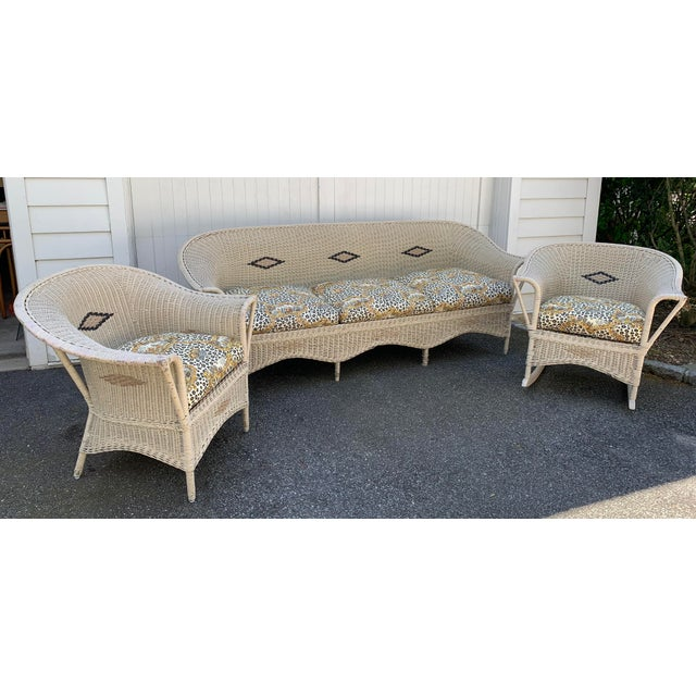 Vintage Heywood-Wakefield Wicker Sofa Set With Leopard Pattern Cushions - Set of 3 For Sale - Image 13 of 13