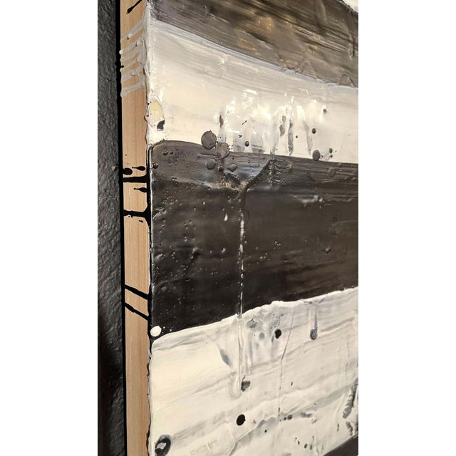 """Lynn Basa Encaustic Black and White Stripe Panel """"Mostly White"""" 2012 For Sale - Image 9 of 12"""