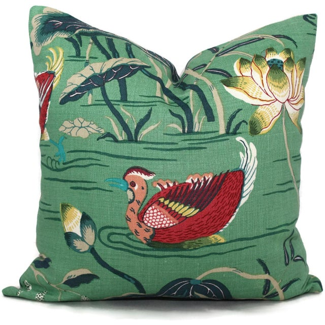 "Not Yet Made - Made To Order 20"" x 20"" Jade Lotus Garden Decorative Pillow Cover For Sale - Image 5 of 6"