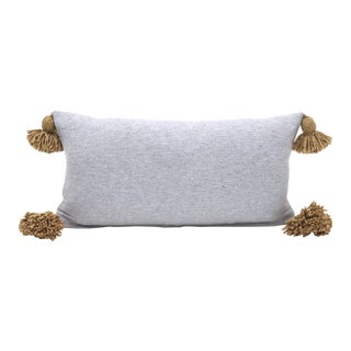 Boho Chic Grey and Camel Cotton Pillow For Sale
