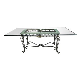 "Glass Top Dining Table on Metal Base - 89"" For Sale"