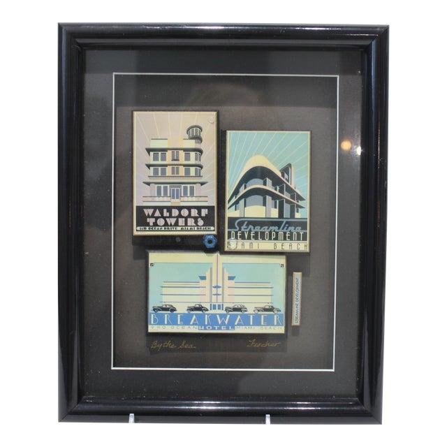 """By the Sea"" Collage Streamline Re-Development of Art Deco Architecture Miami Beach by Fischer For Sale"