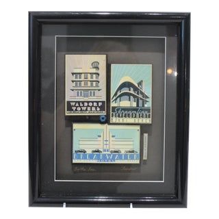 """Vintage """"By the Sea"""" Fischer Collage of Streamline Re-Development of Art Deco Architecture Miami Beach For Sale"""