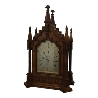 English Mid 19th Century Gothic Musical Clock For Sale