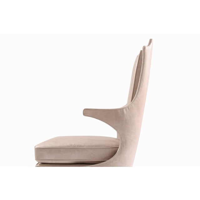 Sculptural Pair of Leather and Ebonized Mahogany Lounge Chairs For Sale - Image 4 of 6