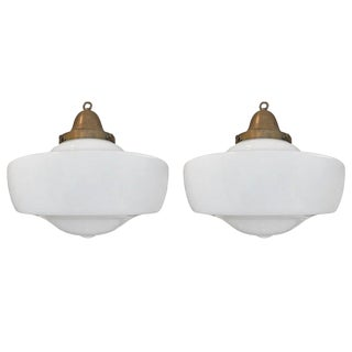 Pair of Early 20th Century American Schoolhouse Fixtures For Sale