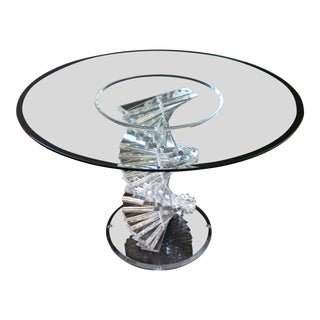 1970s Mid Century Modern Helix Spiral Stacked Lucite Dining Dinette Center Table For Sale