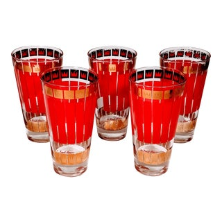 Vintage Fred Press Red & Gold Crown Highball Cocktail Glasses - Set of 5 For Sale