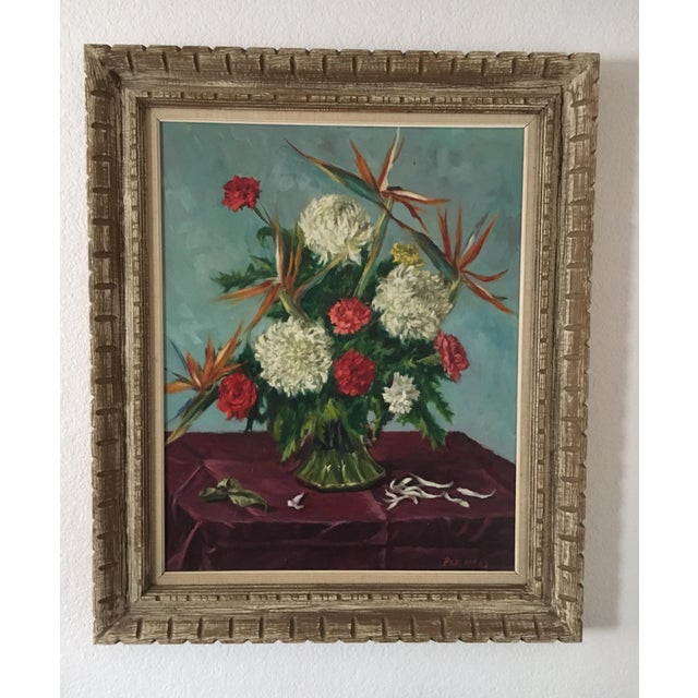 Still Life Flowers With Burgundy Cloth Painting by Ben Wilks For Sale - Image 13 of 13