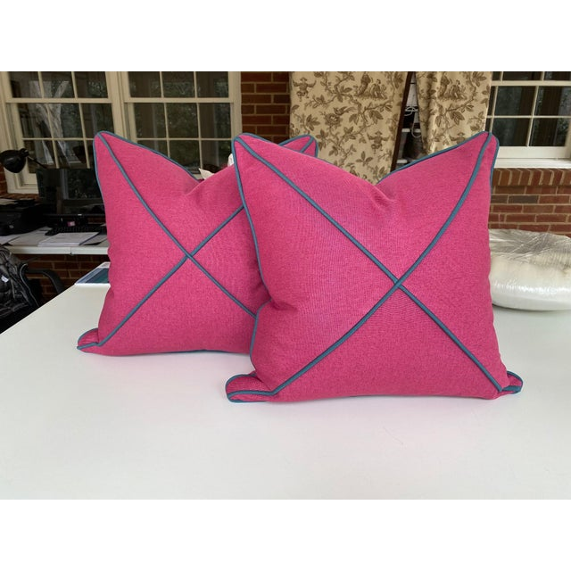 Fuchsia and Peacock Blues Pillows - a Pair For Sale In Charlotte - Image 6 of 6