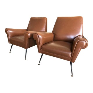 Italian Mid Century Arm Chairs - A Pair For Sale