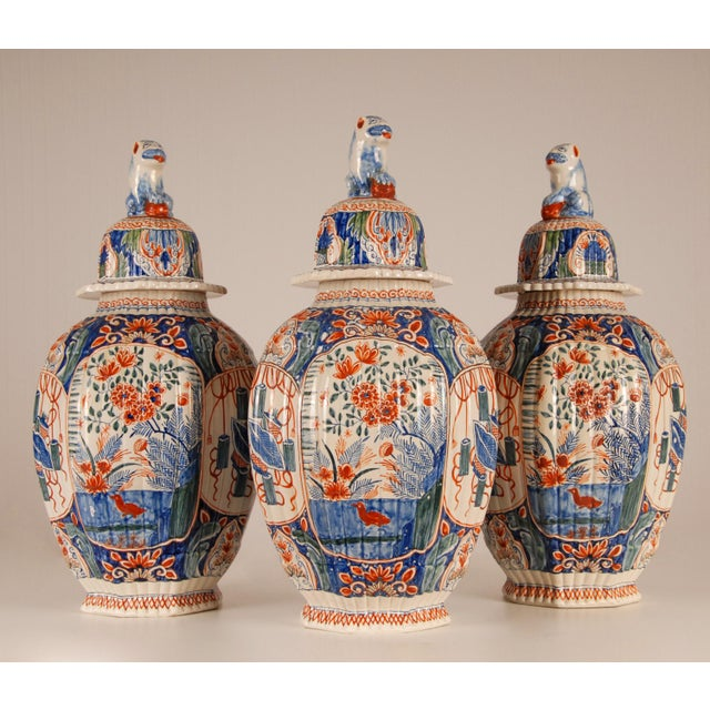 Japanese Antique French Delftware Pottery Tinglazed Vases & Covers - Set of 3 For Sale - Image 3 of 12