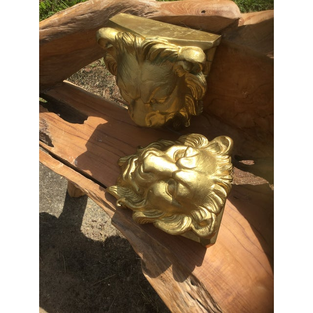 Majestic Golden Lion Wall Shelfs - a Pair - Image 10 of 10