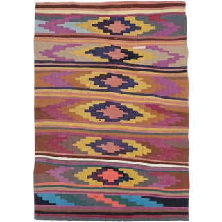 "Vintage Persian Flatweave Kilim Rug – Size: 4"" X 5' 10"" For Sale"