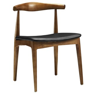 Mid-Century Modern Style Wood and Leatherette Wishbone Dining Chair