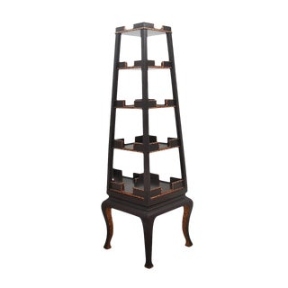 Chinese Import Black and Gold Tower Etagere For Sale