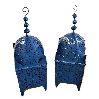 Moroccan Floor Candle Lanterns - A Pair For Sale
