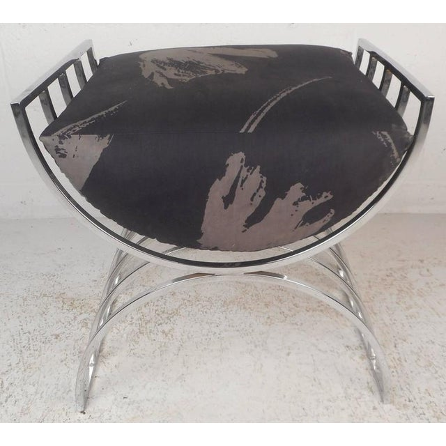 Unique Mid-Century Modern Chrome Stool or Ottoman - Image 2 of 8