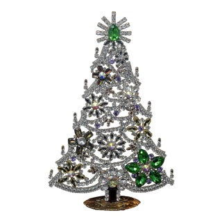 Large Czech Crystal and Rhinestone Table Top Mantle Christmas Tree For Sale