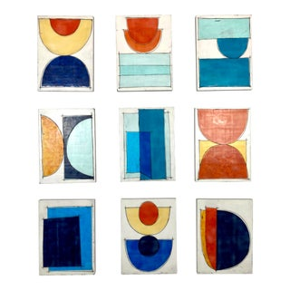 """Young, Wild & Free"" Contemporary Abstract Mixed-Media Collage on Panels by Gina Cochran - Set of 9 For Sale"