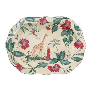Vintage Oval Tray Depicting Giraffe and Handler For Sale