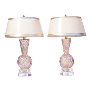 Vintage Italian Murano Lavender Lamps With Lucite Bases For Sale
