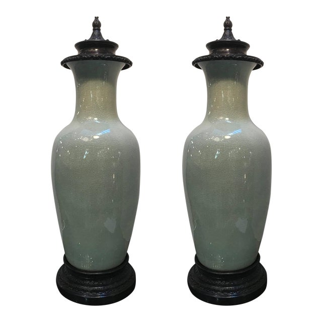 20th Century Chinese Celedon Porcelain Vases - a Pair For Sale