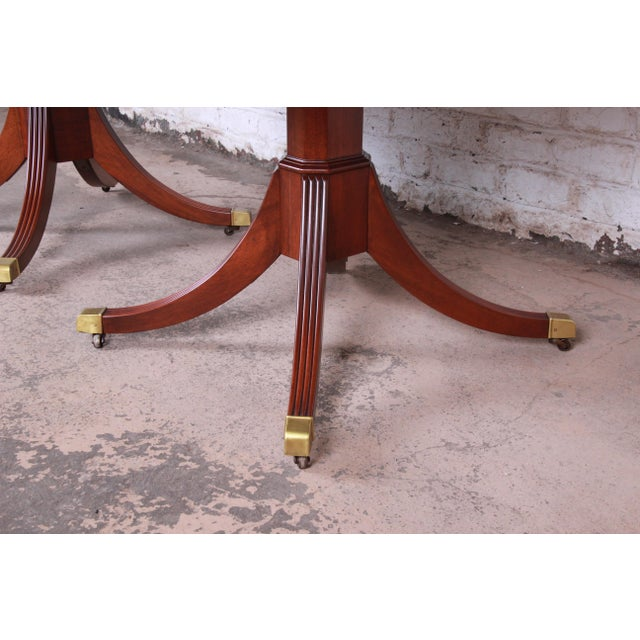 Kindel Furniture Georgian Style Banded Mahogany Double Pedestal Extension Dining Table For Sale In South Bend - Image 6 of 12