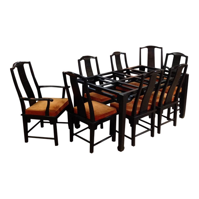 Century Chin Hua Black Lacquer Dining Set