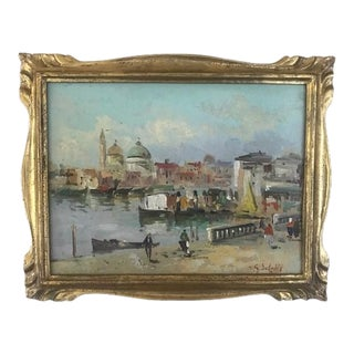 Mid 20th Century European Landscape Oil Painting, Framed For Sale