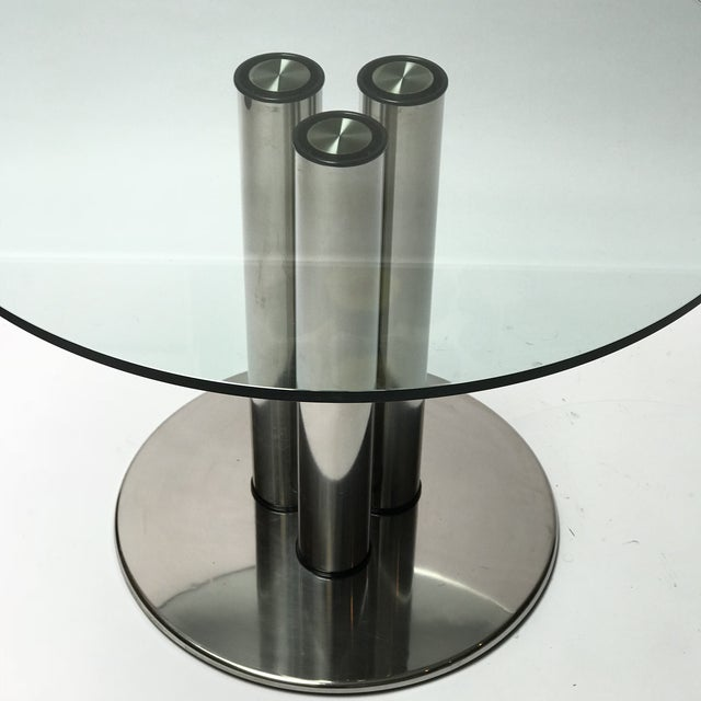 """""""Marcuso"""" dining table designed by Marco Zanuso for Zanotta. Made in Italy. Very heavy. 5/8"""" thick glass. Stainless steel..."""