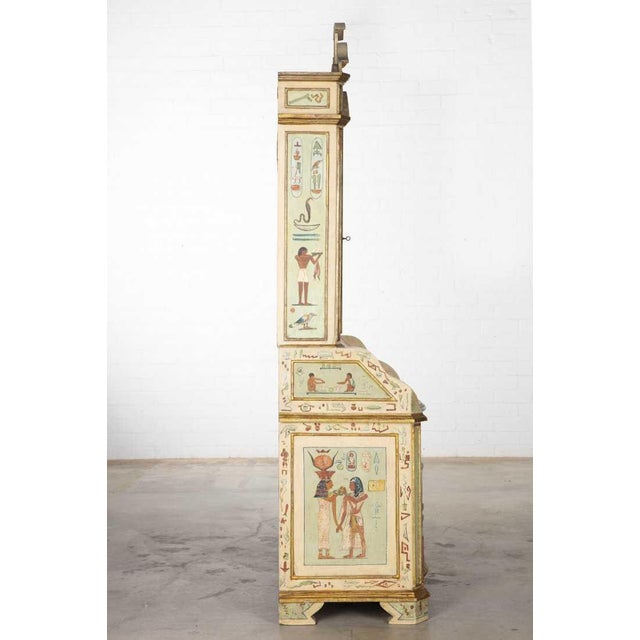 Unusual Antique 19th C Egyptian Motif Paint Decorated Italian Secretary For Sale - Image 4 of 6
