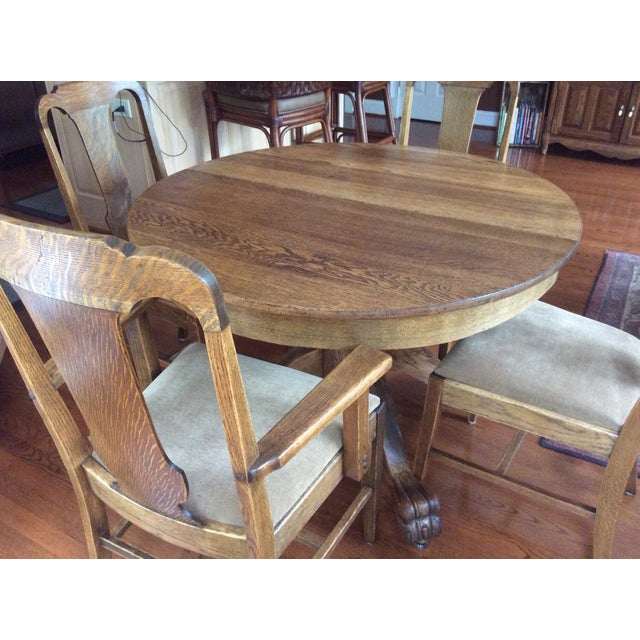 Antique Claw Foot Dining Table & 4 Chairs - Image 6 of 11