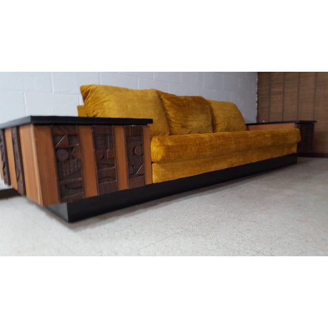 Show stopper and one of kind brutalist sofa by Lane Furniture in excellent vintage condition. Two end tables attached and...