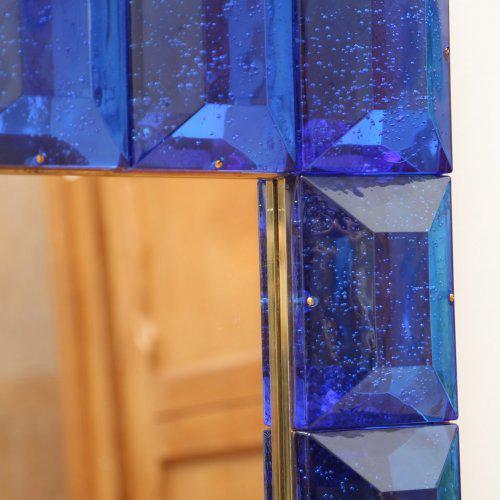 Modern Cobalt Blue Diamond Murano Glass Mirror For Sale - Image 3 of 6