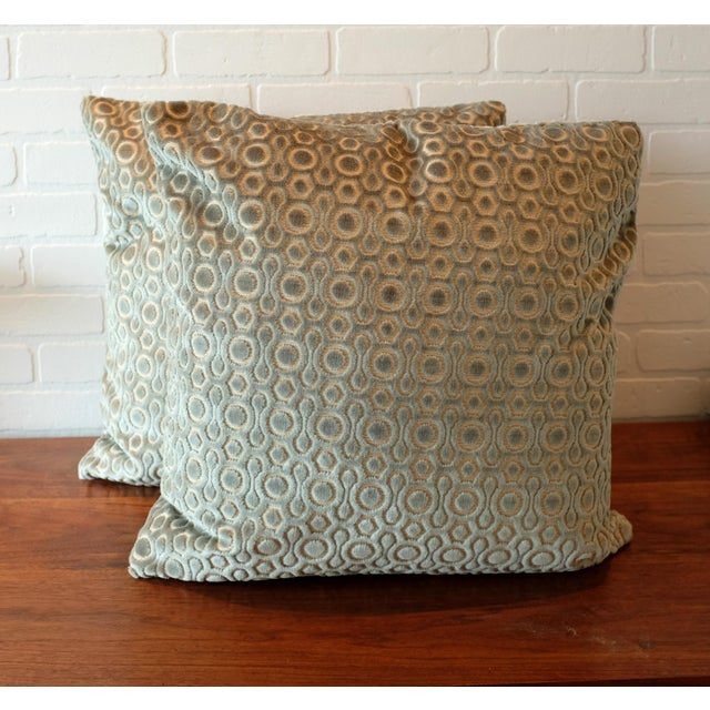 """A pair of custom designer 22""""x22"""" pillows covers. The cut velvet is a cotton/viscose blend that is made in Italy. The..."""