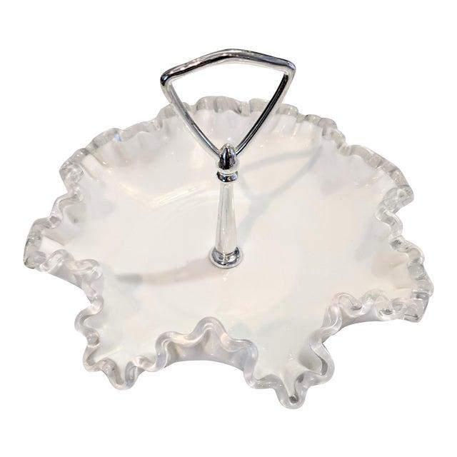 Vintage 1950s Fenton Silver Crest Ruffle Edged Milk Glass Bon Bon Dish For Sale