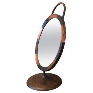Japanned Copper Art Deco Fixed Tilt Shaving Mirror For Sale