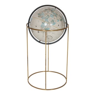 Paul McCobb Style Modernist Globe With Brass Floor Stand. For Sale