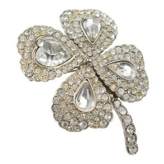 Yves Saint Laurent Ysl Jeweled Pin Brooch Four-Leaf Clover Clear Rhinestones For Sale