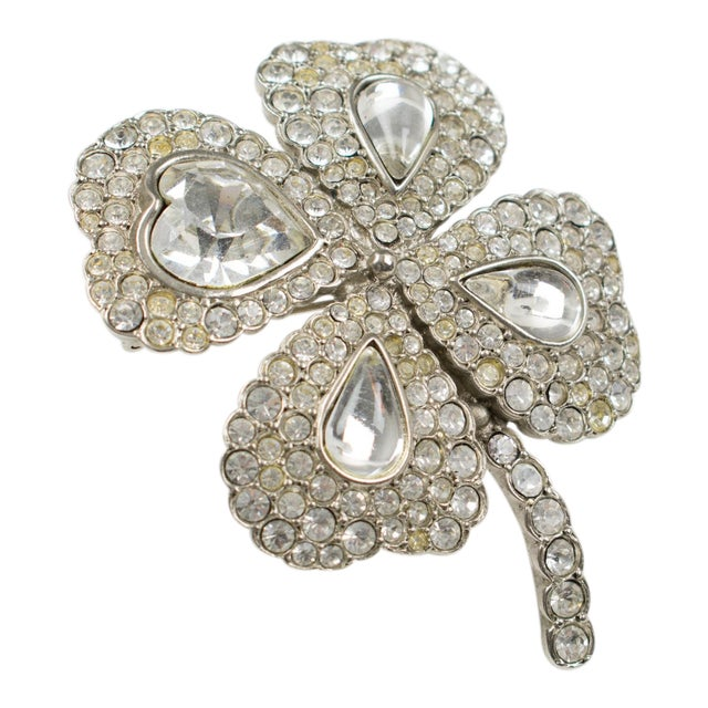 e2b03abea5c Yves Saint Laurent Ysl Jeweled Pin Brooch Four-Leaf Clover Clear Rhinestones  For Sale
