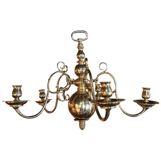 English Polished Brass Five-Arm Candle Chandelier, Early 19th Century For Sale