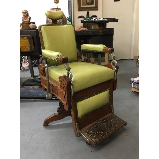 Antique Koken Oak & Green Leather Barber Chair - Image 2 of 11 - Antique Koken Oak & Green Leather Barber Chair Chairish