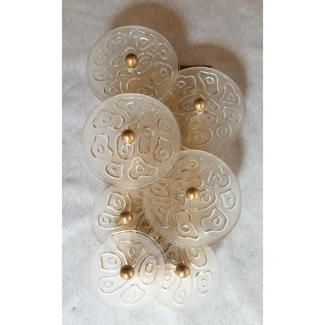 1960s Mid Century Modern Murano Glass & Brass Sconces by Vistosi Italy 1960s - 2 Pairs For Sale - Image 5 of 9