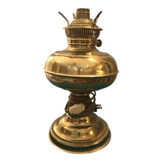 Vintage Brass Converted to Electric Oil Lamp For Sale