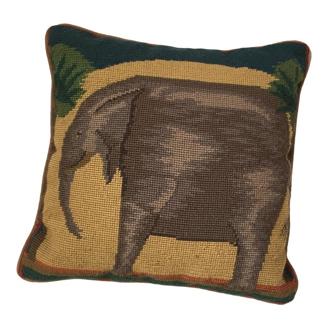 Needlepoint Elephant Accent Pillow - Image 1 of 7